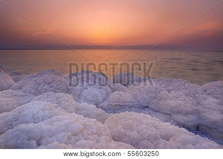 Sunset Scenary At Dead Sea, Jordan