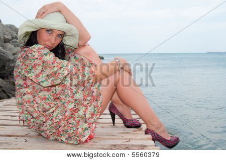 The woman on a mooring