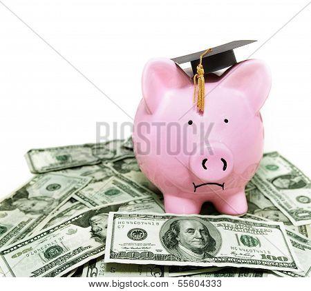Piggy Bank With Graduation Cap