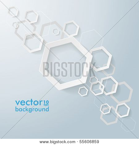 White Paper Hexagons Line