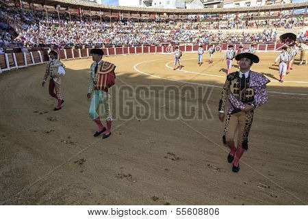 Spanish bullfighter Curro Diaz Manuel Jesus El Cid and Morante de la puebla at the paseillo or initi
