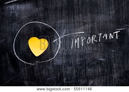 Heart shaped Note On Blackboard Circled