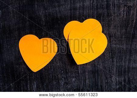 Heart Shaped Notes On Blackboard