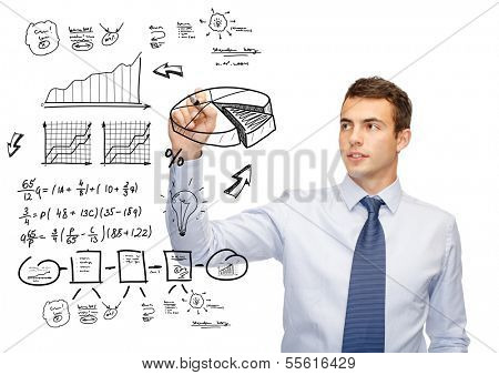 business, economics, finances and office concept - attractive buisnessman drawing plan on virtual screen