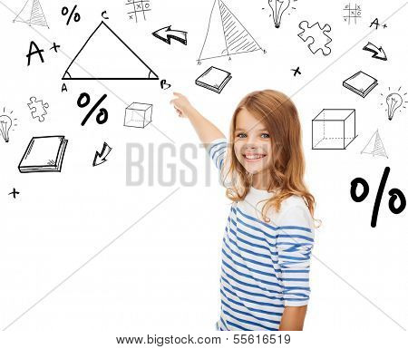 education, school and technology concept - cute little girl pointing to triangle on virtual screen