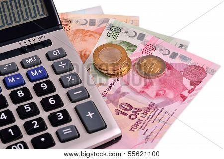 Turkish Money on white isolated