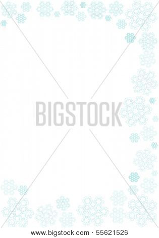 Intricate snowflakes in subdued, cold tone on white background suitable for winter themed stationery