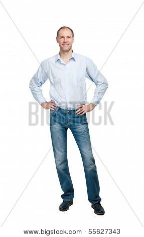 Smiling Man In Blue Shirt And Jeanse Isolated On White Background