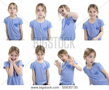 young girl showing set of emotions
