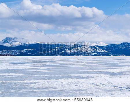 Frozen Lake Laberge Winter Landscape Yukon Canada