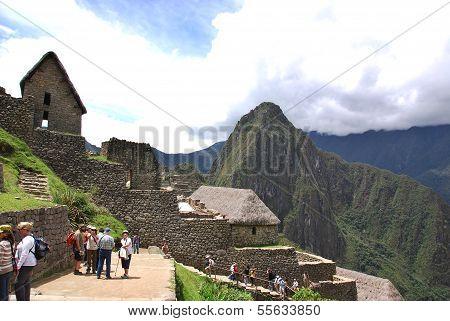 Tourists walk in Machu Picchu site