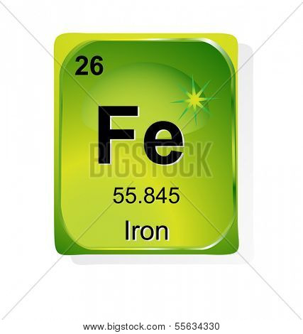Iron chemical element with atomic number, symbol and weight