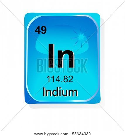 Indium chemical element with atomic number, symbol and weight