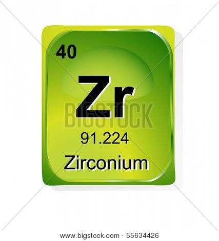 Zirconium chemical element with atomic number, symbol and weight