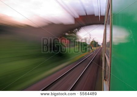 View From The Window Of Speeding Train