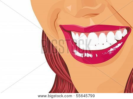 Abbildung von einem umwerfenden Lächeln des Mädchens auf weißem Hintergrund