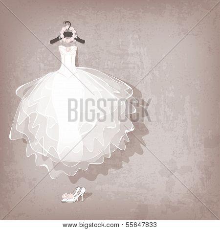 wedding dress on grungy background