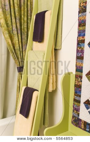 Towel Rack With Colorful Towels