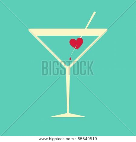 Creative illustration of a cocktail glass garnished with a bleeding heart, symbol of passion, love or hurt feelings, on aquamarine blue background