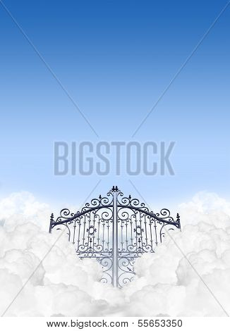 A depiction of the gates to heaven in the clouds shut under a clear blue sky background poster