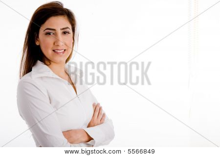 Portrait Of Businesswoman With Folded Hands