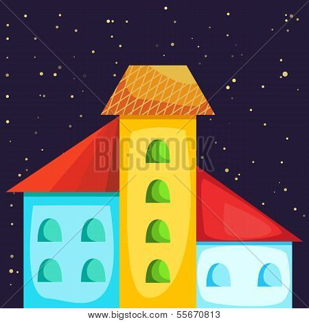 Cartoon Colorful House At Night