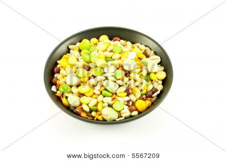 Soup Pulses In Small Black Bowl