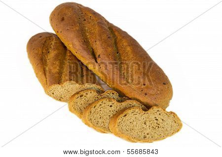 Loaf of bread with sliced piaces - isolated photo with white background poster