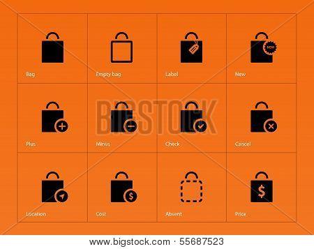 Shopping bag icons on orange background.