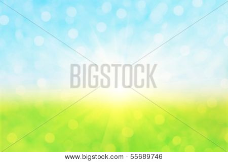 Abstract defocused nature background with bokeh lights and sun.