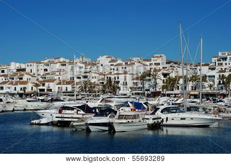 Boats in marina, Puerto Banus, Spain.