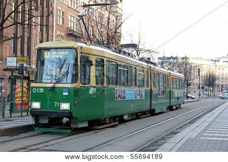 Green Hsl Tram No 10 In Helsinki, Finland