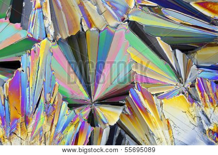Microscopic View Of Sucrose Crystals In Polarized Light