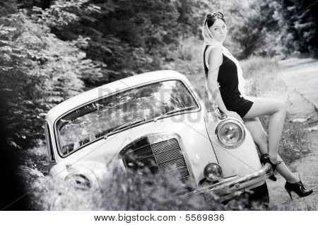 Beautiful pin-up styled girl outdoors, grayscale picture poster