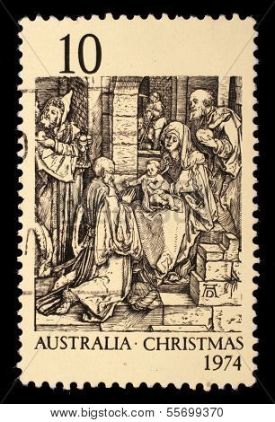 AUSTRALIA - CIRCA 1974: A Stamp printed in Australia shows the Adoration of the Kings by Durer, circa 1974