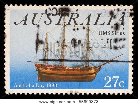 AUSTRALIA - CIRCA 1983: A stamp from Australia shows image of the ship HMS Sirius and commemorates Australia Day, circa 1983