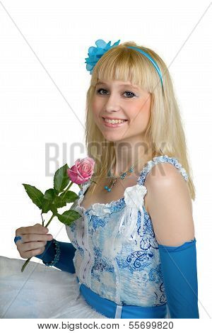 lächelnd Mädchen mit rose