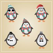 Cute Winter Christmas Hipster Penguins Vector Illustration poster
