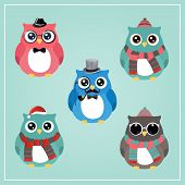 Cute Winter Christmas Hipster Owl Vector Illustration poster