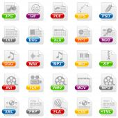 25 different file format icons with glossy buttons poster