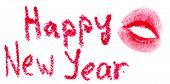HAPPY NEW YEAR is written with lipstick and kiss stamp. Isolated on white background poster