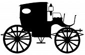 A typical Victorian or Georgian style carriage in silhouette poster