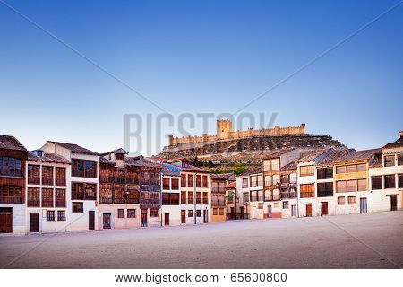 Small Town Of Penafiel With Castle And Old Square
