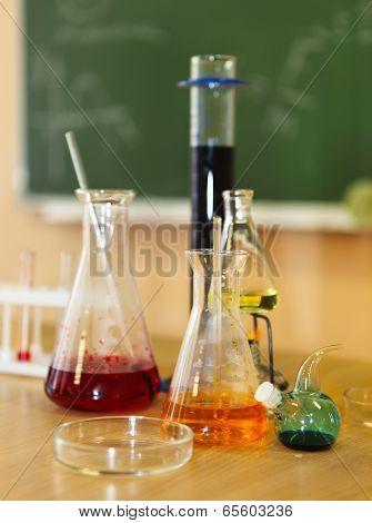 Chemistry Laboratory Glassware With Liquid Formula