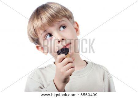 Boy With Ice-cream Isolated
