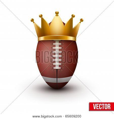 American football ball with royal crown