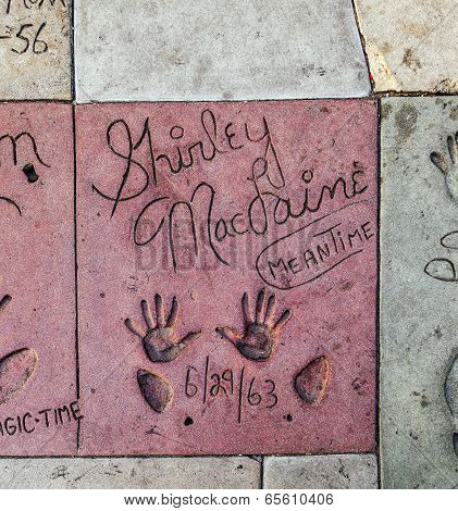 Shirley Maclaines Handprints In Hollywood Boulevard In The Concrete Of Chinese Theatre's Forecourt