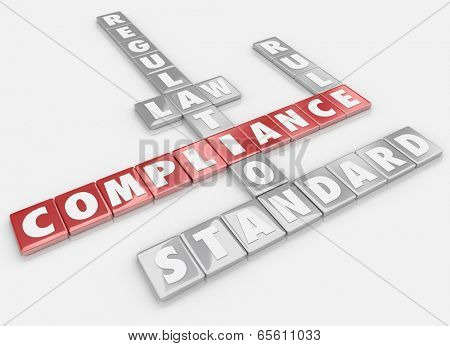 Compliance words spelled letter tiles following rules laws guidelines