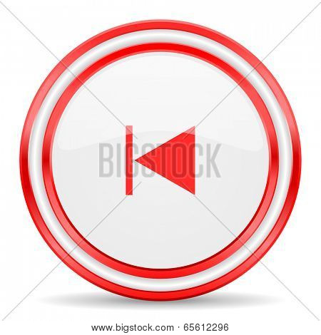 prev red white glossy web icon