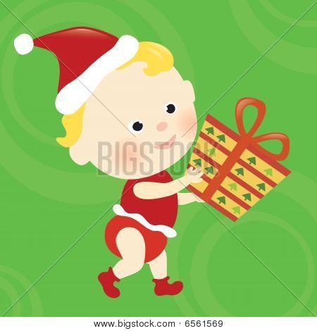 Christmas baby holding present